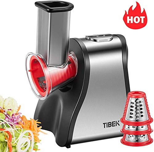 Salad Maker Machine, Electric Slicer Shredder/Graters for Home Kitchen Use with One-Touch Easy Control and 5 Attachments for Fruits, Vegetables, Cheeses and Fruit Smoothie, 200W, BPA-Free, TIBEK