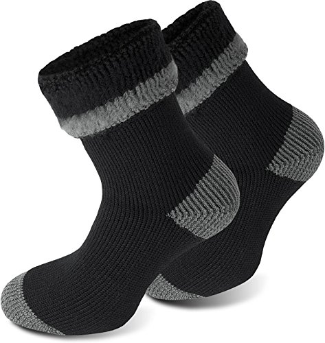 Polar Husky® 3 Paar Super Warme Thermo Socken! Vollplüsch/Perfekt geeignet für Stiefel Farbe Extrem/Hot/Schwarz/Grau Größe 43/46