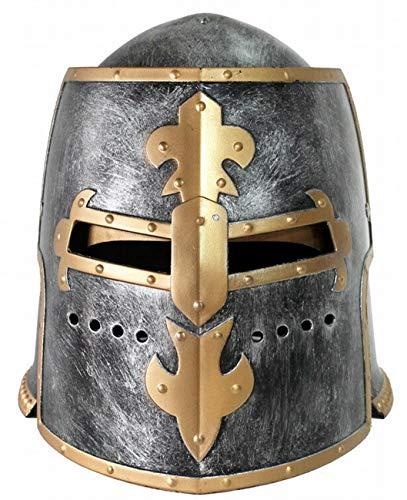 VENTURA TRADING HT1 Casco de Caballero Plateado Casco de Cruzado Armadura Romana con Protector Facial móvil Casco Medieval Guerrero Armadura