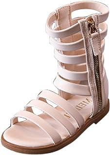 e8c61dd4d8 ARAUS Sandalias Romanas Niñas Botas Altas Zapatos Antideslizante Cuero  Chicas Verano