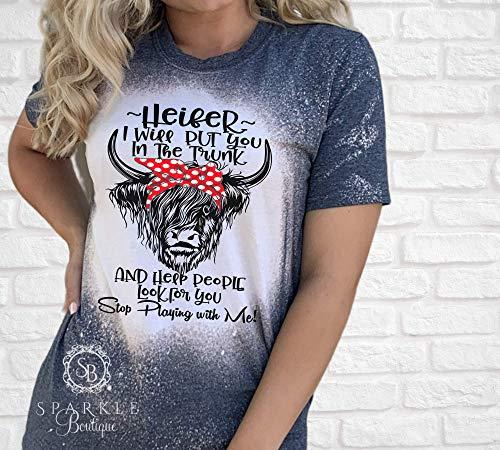 Heifer Shirt - Funny Cow Tee - Bleached T Shirt