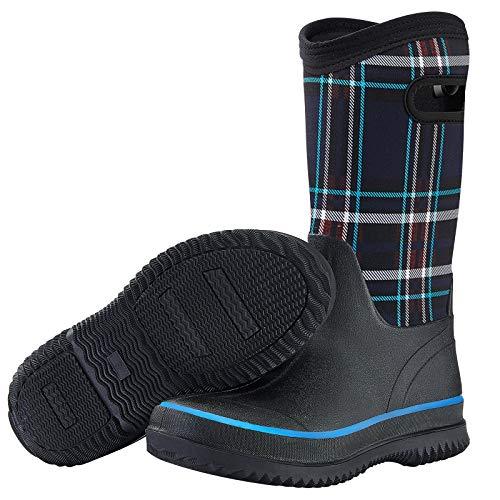 HISEA Rain Boots for Women Mid Calf Muck Rubber Boots Waterproof Neoprene Insulated Barn Boots for Mud Working Gardening Navy Plaid