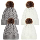 4 Pieces Winter Warm Parent-Child Hat Mother Baby Knitted Pompom Hat Family Crochet Beanie Ski Cap