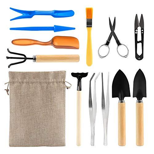KOTWDQ 12-teiliges Bonsai-Werkzeug-Set für Sukkulenten, Gartenwerkzeuge.