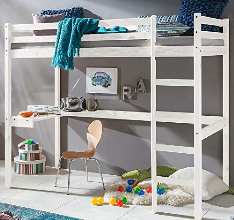 Ravzamoebel-24 Kinderbett Hochbett Dennis Etagenbett mit Schreibtisch massiver Kiefer 90x200 cm (Wei)