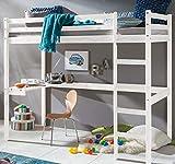 ravzamoebel-24 Kinderbett Hochbett Dennis Etagenbett mit Schreibtisch massiver Kiefer 90x200 cm (Weiß)