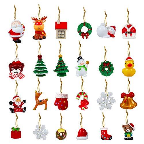 Rorchio Weihnachtsbaumschmuck, 24 Stück, Mini-Weihnachtsbaum-Hängeornamente, Schneemann, Weihnachtsmann, Engel, Rentier, DIY Dekoration für Weihnachtsbaumstrumpf Kamin Geschenk Dekor
