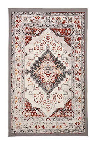 Furnish My Place Distressed Rug - 7 ft. 8 in. x 11 ft., Light Grey, Indoor Rug with Bordered Design, Jute Backing