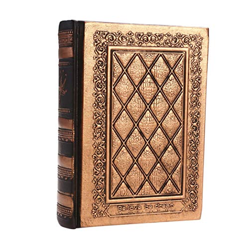 STOBOK Cuaderno de piel sintética con tapa de piel sintética, para diario, diario, diario, cuaderno de papel kraft tallado, agenda para viajes, álbum de recortes, oro antiguo