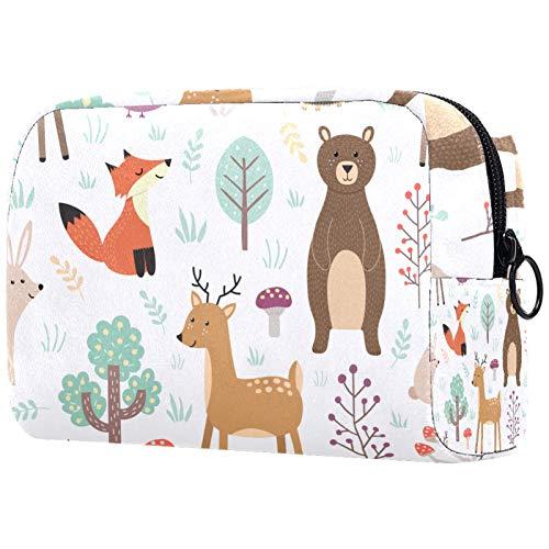 Trousse de Maquillage Voyage Maquillage Case Cosmetic Case Professional Portable Fox Deer Bear Lapbit Owl Organisateur et Rangement pour Porte-pinceaux de Maquillage