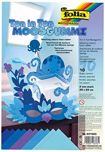 folia 231093 - Moosgummi Ton-In-Ton Blau Sortierung, 2 mm, ca. 20 x 29 cm, 10 Bögen - ideal für vielseitige Bastelarbeiten