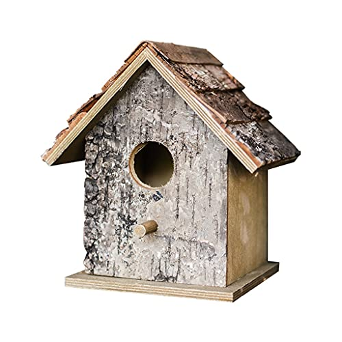 ShiLiLiShop Accesorios de pavimentación Decoración de Patio Trasero Nido de pájaro Casa de pájaro Casa de pájaro Patio Madera de Abedul Natural Nido de pájaro Decoración de jardín