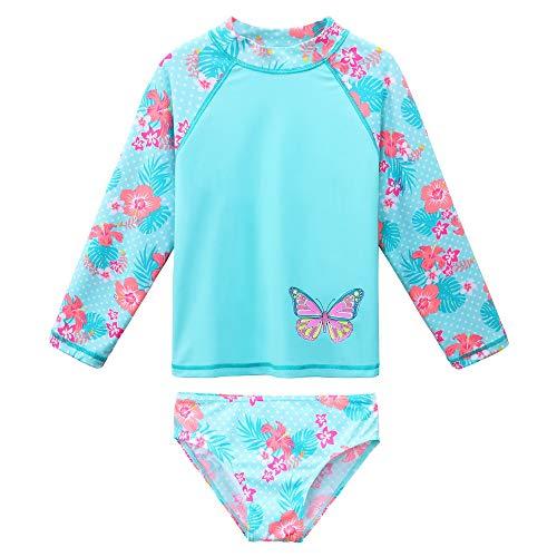 ZNYUNE Zwemkleding voor meisjes, 2-delig, 3-10 jaar, zwemkleding met lange mouwen, Tankini-set, badpak, uv-badpak voor zonbescherming
