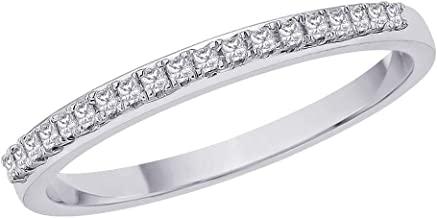 KATARINA Princess Cut Diamond Anniversary Wedding Band Stackable Ring in Sterling Silver (1/10 cttw, H-I Color, I2-I3 Clarity)
