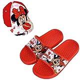 Chanclas Minnie Mouse Disney Flip-Flop para Playa o Piscina + Gorra Disney Minnie Mouse para Niñas (Rojo, Numeric_24)