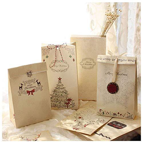 MARFORT Lot de 12 Sacs-Cadeaux de Noël Papier Kraft Pochette Noël Cadeau Sac Noël 12 x 6 x 22 cm Mariage Anniversaire Fete