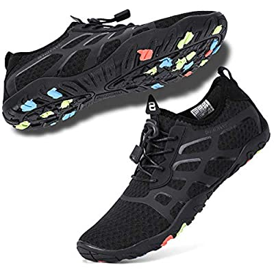 hiitave Water Shoes for Men/Women/Adults, Aqua Beach Pool Swim Shoes All Black M10-10.5