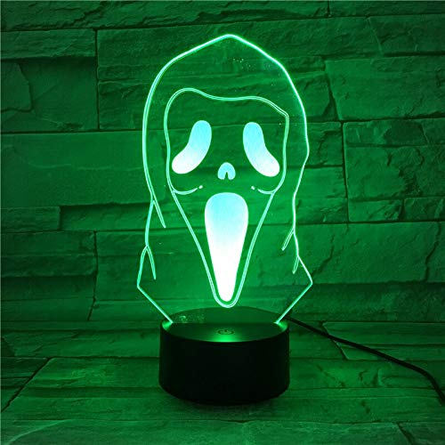 3D Illusion Led Night Light Lamp Ghost Grimace Horrifying Novelty Lights Home Halloween Decor Kids Child Cool Gift 418