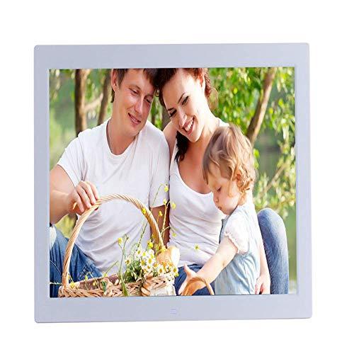 TUNBG Digitaler Bilderrahmen, 19-Zoll-LED-Anzeige 1366 * 768 (16: 9) Hochauflösendes Foto, Musik, HD-Videoplayer, Kalender, Alarmautomatik, Werbespieler mit Fernbedienung, Schwarz,Weiß