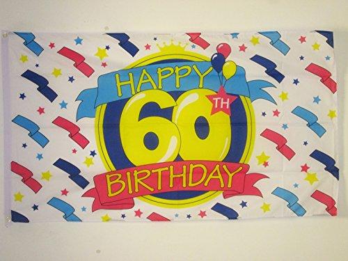 AZ FLAG Flagge Alles Gute ZUM Geburtstag 60 Jahre 150x90cm - Happy 60TH Birthday Fahne 90 x 150 cm - flaggen Top Qualität
