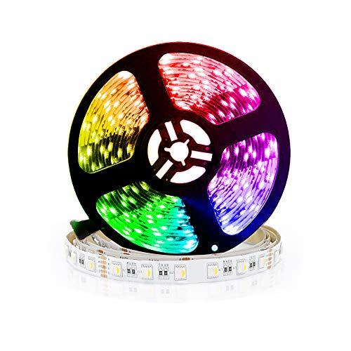 24V led strip RGBWW LED Streifen LED Band 5050 SMD RGB+Warmweiss 4 in1, 300 LEDs Lichterkette Lichtleiste Deko Lichter Treppenlicht, 60LEDs/M, 5M