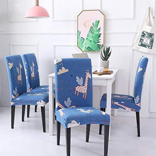 Fundas para Sillas Jirafa Animal Azul undas de Silla de Spandex Fundas sillas Comedor Fundas elásticas, Extraíbles y Lavables,para Sillas Altas Fundas Protectoras para Sillas(2 Piezas)
