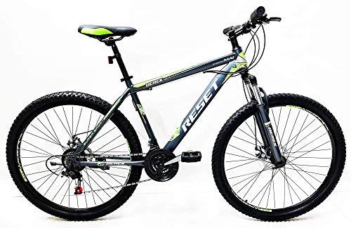 Reset Bicicletta Mountain Bike MTB Ragazzo 27.5' 21V Front Suspension Grigio e Verde