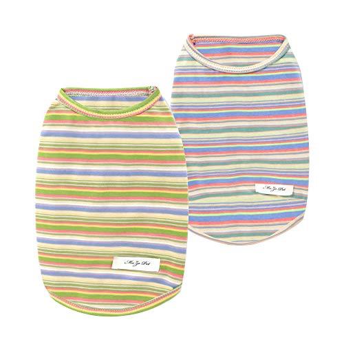 Hund gestreiftes T-Shirt, YAODHAOD Sommer atmungsaktive Baumwollhemden, Hund Soft Tank Top Ärmellose Weste Hund T-Shirt für kleine mittelgroße Hundekatze Kleidung (2Pack) (XL)