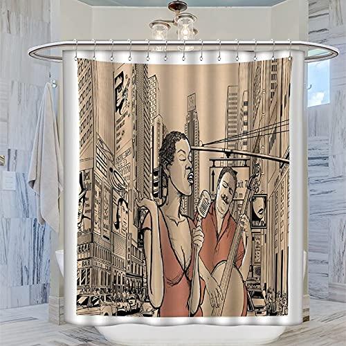 Duschvorhang mit Jazz-Musik, Jazz-Sänger mit Kontrabassspieler in einer Straße von New York Urban Lifestyle, braun-beige, 183 x 183 cm, wasserdichter Badezimmer-Vorhang mit 12 Kunststoffhaken