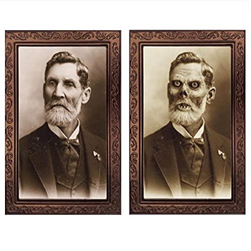 YTATY Marco de fotos de Halloween para decoración de Halloween con cambio en 3D, para decoración de retrato de terror, decoración de Halloween, foto encantada con marco (38 x 25 cm)