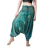YANFANG Pantalones para Mujer, Hombres Harem Tailandeses Boho Festival Hippy Smock Pantalones de Yoga de Cintura Alta Talla Grande Transpirable Verano Primavera