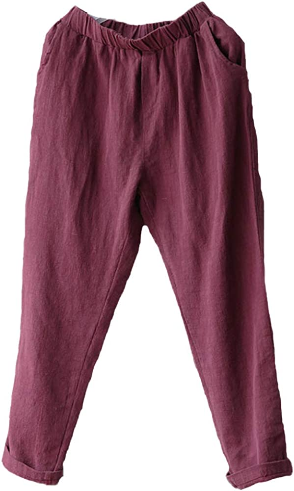 Lghxlxry Women's Casual Elastic Waist Pleated Loose Cotton Linen Harem Pants Cropped Trousers with Pocket
