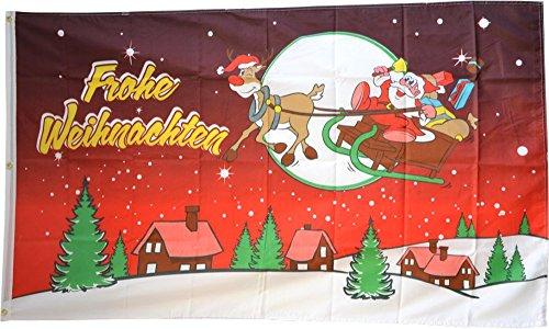 Flaggenfritze Fahne/Flagge Frohe Weihnachten rot - 150 x 250 cm + gratis Sticker, XXL-Fahne