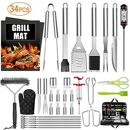 AILUKI - Set di 34 posate per barbecue, in acciaio inox, con valigetta e termometro, in valigetta di alluminio per campeggio, ideale per uomini e donne