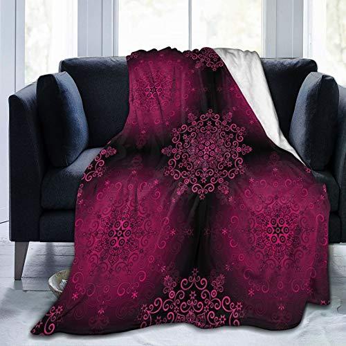 Manta mullida, psicodélico estilizada digital étnica con diseño barroco rococó Indie, ultra suave, manta para dormitorio, cama, TV, manta de cama de 152 x 127 cm