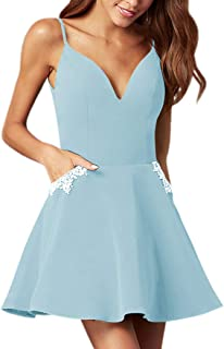 Jonlyc A-Line Spaghetti Straps Beaded Satin Short Homecoming Dresses with Pockets
