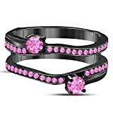 DS Jewels 14k Black Rhodium Plated Alloy Two Stone Prong Set Round Forever US Enhancer Ring Guard with CZ Pink Sapphire (0.58 ct. tw.)