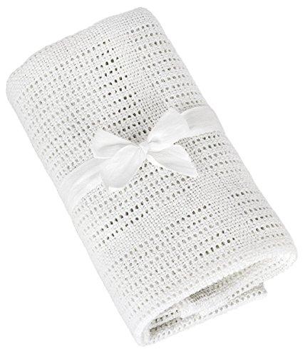 TALINU Babydecke aus 100% Baumwolle mit süßer Geschenkschleife, Maße: 70 cm x 90 cm –Baumwolldecke, Kuscheldecke, Strickdecke