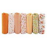 7pcs 50 x 50 cm Baumwollstoff, Orange Serie Einfarbiger