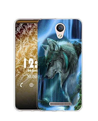 Sunrive Kompatibel mit DOOGEE X6 Pro Hülle Silikon, Transparent Handyhülle Schutzhülle Etui Hülle (Q Wolf 3)+Gratis Universal Eingabestift MEHRWEG