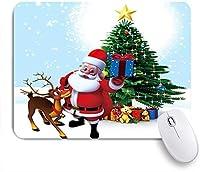 NIESIKKLAマウスパッド クリスマスのサンタクロースエルククリスマスツリー ゲーミング オフィス最適 高級感 おしゃれ 防水 耐久性が良い 滑り止めゴム底 ゲーミングなど適用 用ノートブックコンピュータマウスマット