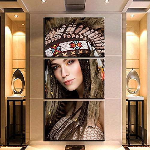 SGDJ Mujer nativa de la Belleza guerrera de la Tribu Impresiones en Lienzo Pintura Decoración para el hogar Arte de la Pared Posters 3 Piezas con Marco