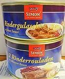 Simon 2 Rinderrouladen in pikanter Sauce 400 g + Simon Rindergulasch 300gr Dose