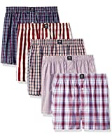 Badger Smith Men's 5 - Pack Cotton Checks Multicolor Boxer, Multi, Size Medium