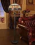 16 Pulgadas Tiffany Retro Lámpara de pie Exquisita Vintage Patrón Dormitorio Lámpara de pie