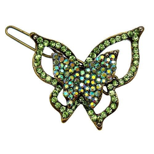 Acosta accessori–piccolo cristallo Swarovski verde farfalla fermacapelli/Clip, in confezione regalo