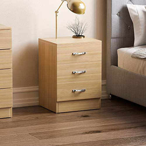 Vida Designs Pine Bedside Cabinet Chest of Drawers, 3 Drawer With Metal Handles and Runners, Unique Anti-Bowing Drawer Support, Riano Bedroom Furniture