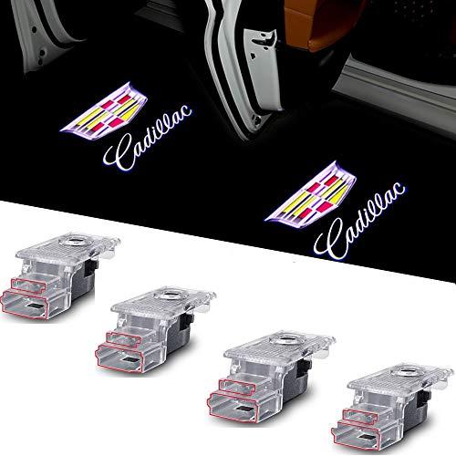 Car LED Door Logo Lights Projector Compatible Cadillac XT4 XT5 XT6 SRX XTS ATS 3D Ghost Shadow Lights for Cadillac SRX XTS ATS XT4 XT5 XT6 Dual Plug Puddle Lights 4 Pack