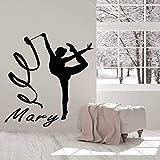 Nombre Personalizable Gimnasia rítmica Deportes Vinilo Pegatinas de Pared Dormitorio niñas niñas habitación de niños Dormitorio Art Deco Mural94x84cm