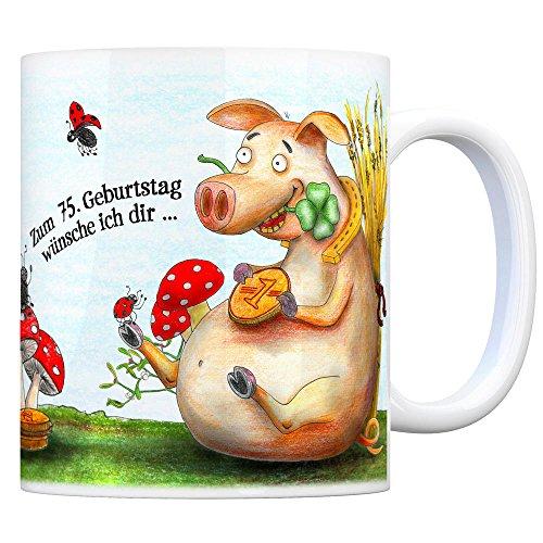 Viel Glück zum 75. Geburtstag Kaffeebecher - Glücksklee, Schwein, Kaminfeger, Glücksbringer, Klee, Marienkäfer und Hufeisen.